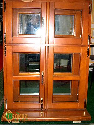 Деревянное реставрационное окно с двумя рядами